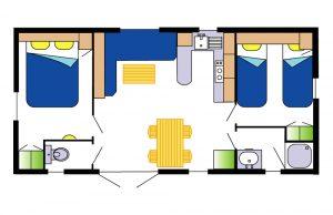 mobil-home Ophéa 4-6 pers 2 ch- plan la Buzelière