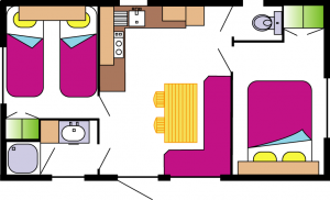 mobil-home Ophéa 2-4 pers 2 ch- plan la Buzelière