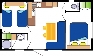 mobil-home Ophéa 2-5 pers 2 ch- plan la Buzelière
